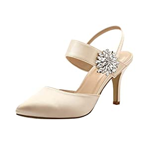 ERIJUNOR Mid Heel Shoes for Women Pointed Toe Slingback Rhinestone Brooch Satin Dress Pumps Evening Prom Wedding Shoes