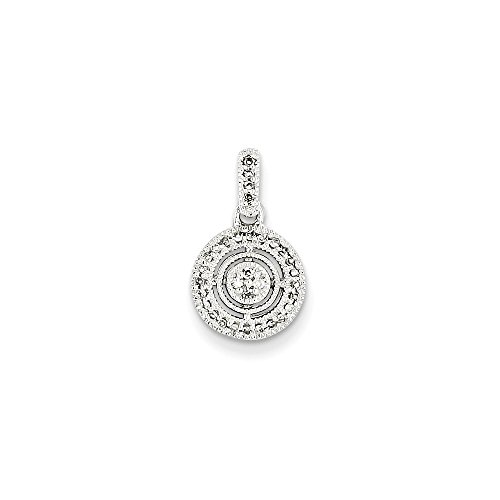 14K Solid White Gold (0.12cttw) Diamond Circle Pendant (17mm x 10mm)