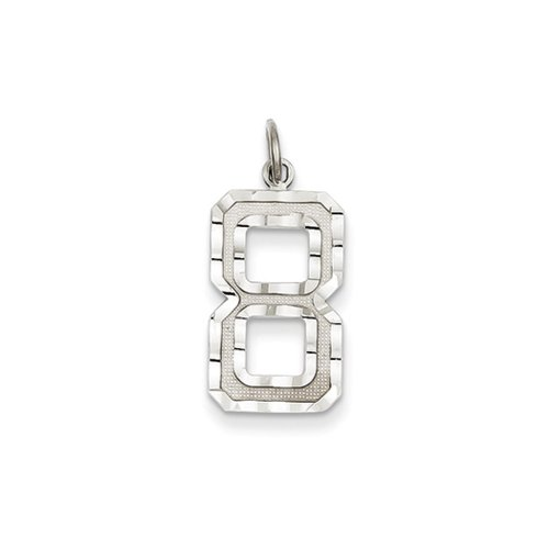 The Varsity Large Diamond Cut 14K White Gold Pendant Number 8