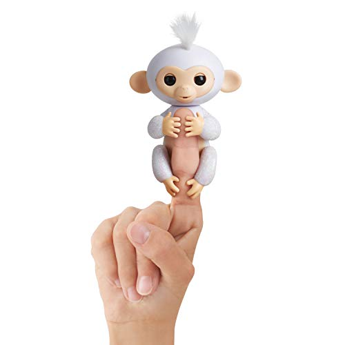 Fingerlings Glitter Monkey - Sugar (White Glitter) - Interactive Baby Pet - By WowWee