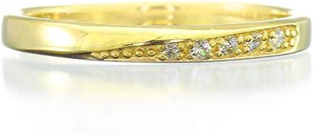 K10 ピンクゴールド ダイヤモンド リング 0.02ct 重ね付け 指輪 8号 ピンキーリング 天然 ダイヤモンド 日本製