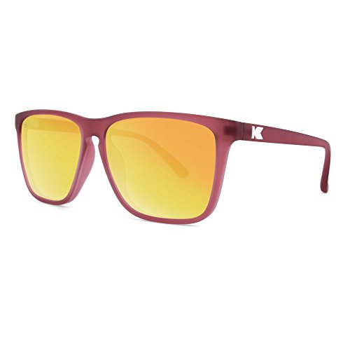 Knockaround Fast Lanes Polarized Sunglasses, Frosted Rubber Maroon Frames/Sunset - Maroon Sunglasses