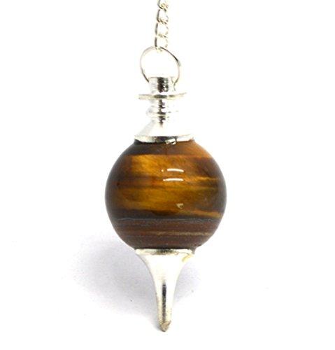 Healing Crystals India Natural Gemstone Sphere Chakra Divination Reiki Metaphysical Dowsing Pendulum w/Chain, Tiger Eye