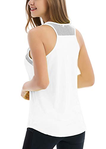 - Fihapyli Women's Backless Mesh Yoga Tanks Sport Workout Tank Tops Sleeveless Breathable Active Shirts Workout Shirts Loose Fit Yoga Tops Workout Tops for Women Exercise Tanks Running Shirts White S