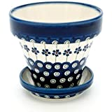 Polish Pottery Flowering Peacock Small Flower Pot