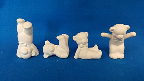 Ceramic Bisque Teddy Bear - Tumbling Baby Teddy Bears set of 4 unpainted ceramic bisque ready to be painted