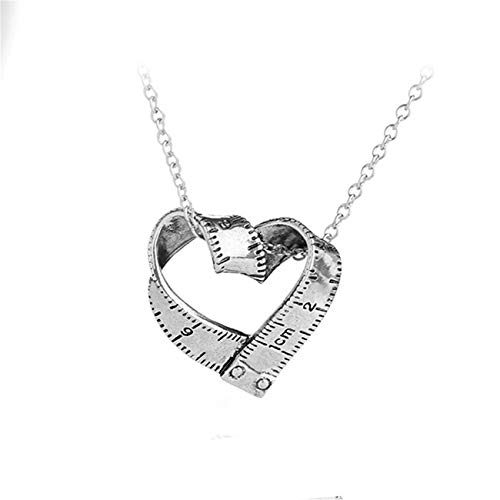 Bigsweety Creative Tape Measure Rotating Heart Shape Pendant Necklace Women Sweater Chain, Ancient Silver