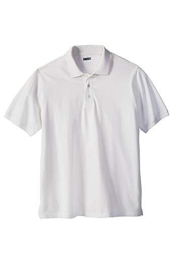 (KingSize Men's Big & Tall Solid Pique Polo Shirt, White Tall-2XL )