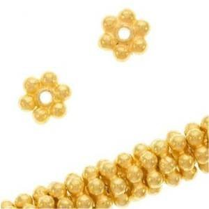 Vermeil Daisy Spacers Beads (Beautiful Bead 4mm 18K Gold Vermeil Bali Daisies Spacers Beads for Bracelets DIY Jewelry Making (About 100pcs ))
