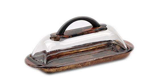 - Sand and Water Creations Hand Painted Butter Dish with Handle and Lid Gold Copper