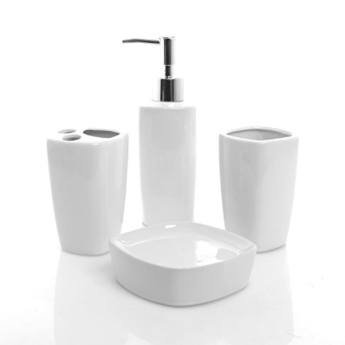 4 piece white ceramic bathroom set pump soap dispenser import it all - Bathroom soap dish sets ...