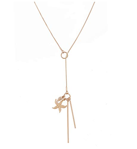 YEYA Lariat Bar Leaf Starfish Pendant Necklace Open Circle Y Necklace Charm Rhinestone Adjustable Long Necklace for Woman Girls (Gold)