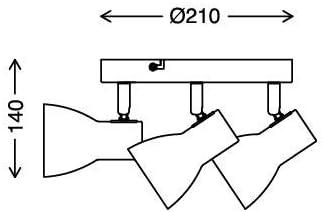 3X E14 DxH 210x140mm R/éflecteur /À Lint/érieur Blanc 25 Watt Noir Max Briloner Leuchten 2860-035 Plafonnier Spots Orientables et Pivotants R/étro Applique