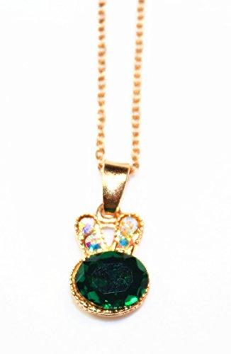 Elegant Crystal Emerald Rhinestone Rabbit Head Pendant Necklace, 14