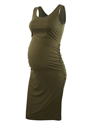 BBHoping Women's Maternity Sleeveless Dresses Maternity Tank Dress Mama Baby Shower Pregnancy Dress Army Green