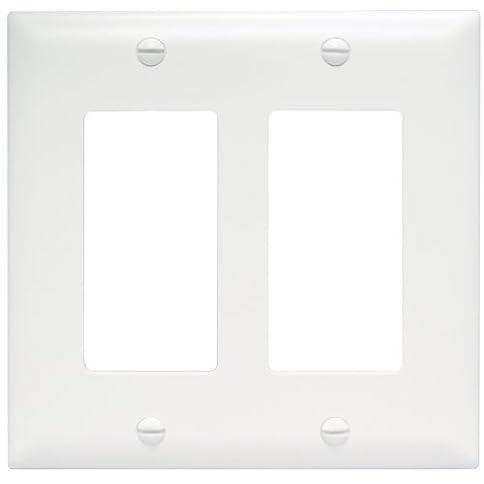 - 31lZlDaNsnL - Legrand – Pass & Seymour TP262W Trade Master Wall Plate 2 Gang 2 Decorator, White, SMALL