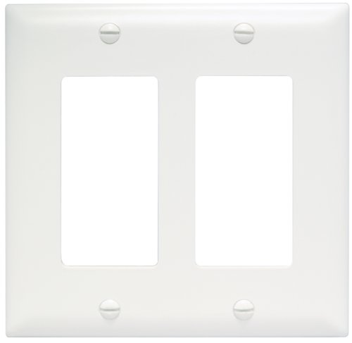Legrand - Pass & Seymour TP262W Trade Master Wall Plate 2 Gang 2 Decorator, White, SMALL 2 Gang Switch Wall Plates