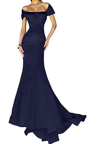 Gorgeous Bride Elegant Lang Packung-Schulter-Stil Mermaid Satin Abendkleid Festkleid Abendmode Dunkelblau jbDoi