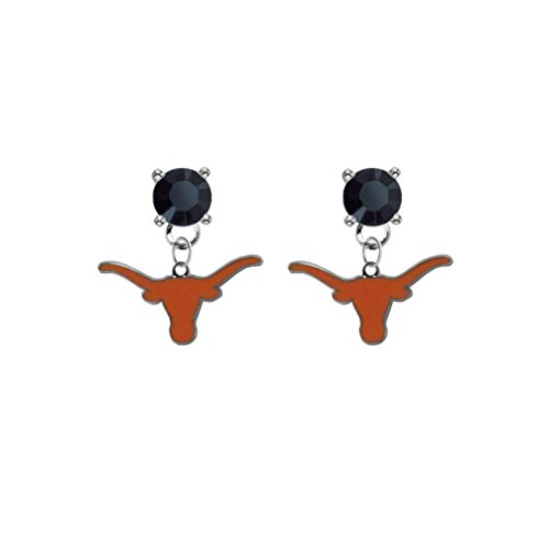 Texas Longhorns Black Crystal Stud Post Dangle Earrings