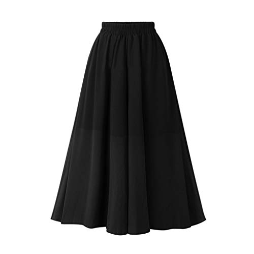 TIFENNY Chiffon Long Skirts for Women Summer Fashion Double Layer Skirt Street Skirt Solid Color Elastic Waist Skirt Dress
