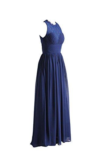 YiYaDawn Langes Elegantes Brautjungfernkleid Abendkleid Cocktailkleid mit Spitze für Damen Königsblau lfado