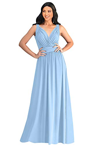 KOH KOH Plus Size Womens Long Sleeveless Flowy Bridesmaids Cocktail Party Evening Formal Sexy Summer Wedding Guest Ball Prom Gown Gowns Maxi Dress Dresses, Sky Baby Light Blue XL 14-16 (Baby Blue Gown Women)