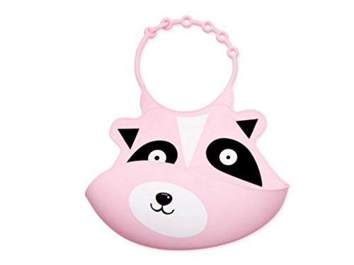 OVIIVO Cute and Lightweight Animal Pattern Silicone Baby Bib Toddler Baby Saliva Towel Baby Bib Drool Bib Suitable for Children 0 to 5 Years Old(Raccoon)