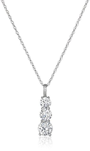 Three-Stone Cubic Zirconia Drop Sterling Silver Pendant Necklace