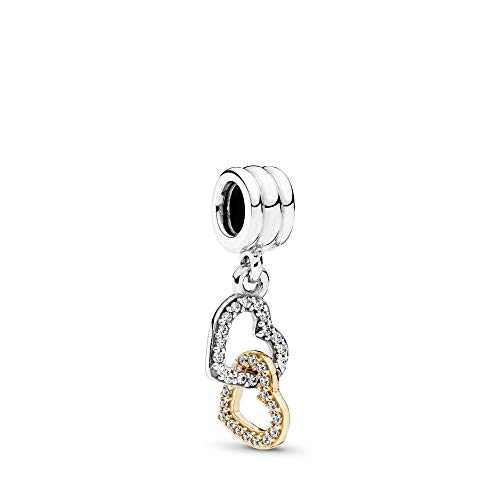 PANDORA Interlocked Hearts Dangle Charm, Two Tone - Sterling Silver and 14K Yellow Gold, Clear Cubic Zirconia, One Size