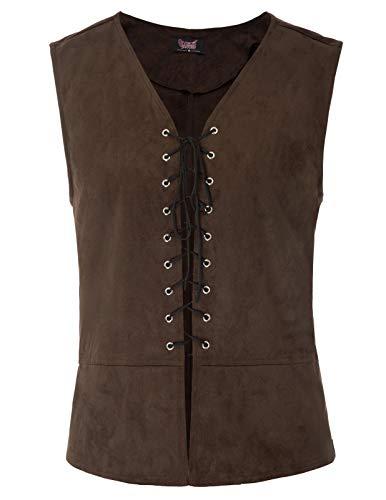 SCARLET DARKNESS Mens Gothic Vest Waistcoat Steampunk Victorian Tailcoat -1 ()