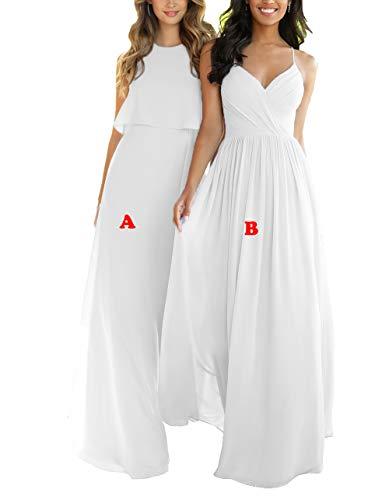 Nicefashion Women's Classic High Neck Full Length Chiffon Semi Formal Bridesmaid Dresses Plus Size White US20W ()