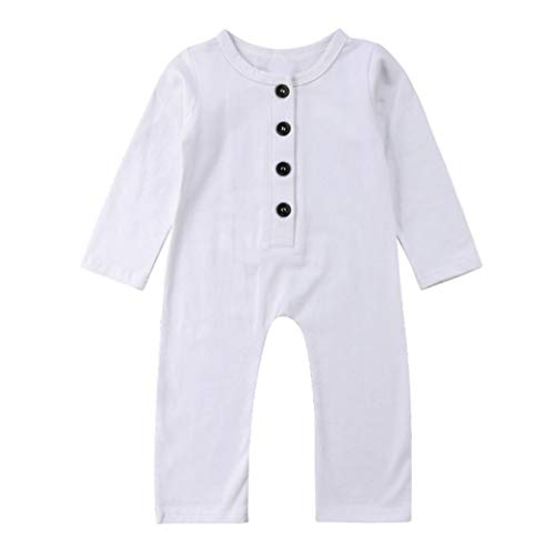 Infant Baby Basic Romper Jumpsuit Boys Girls Long Sleeve Button Up One-Piece Bodysuit Newborn Comfort Clothes Outfits White