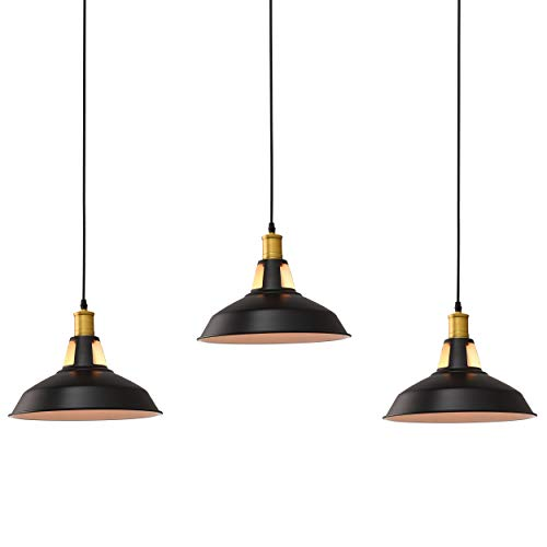 - Pack of 3, 1-Light Pendant Lighting, Classic Industrial Barn Mini Metal Pendant Light with Open Top Shade Design (Bulb Not Included)