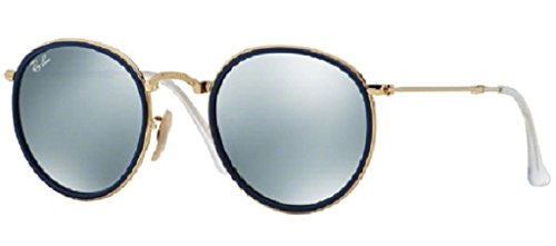 Ray-Ban Women's Mirrored Round Foldable Icon Sunglasses, Blue, One - Sunglasses Ray Mirrored Icons Ban