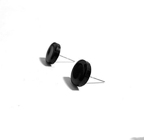 black-stud-earrings-8mm-10mm-handmade-black-unisex-studs-mens-studs-guys-studs-fake-plugs-unisex-ear