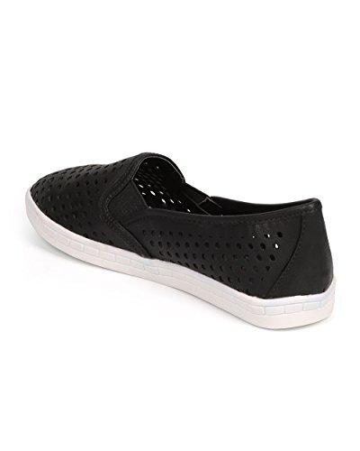 Hollow Black Out Round DbDk Women Toe DG79 Slip Leatherette Elastic on Sneaker qHIwpPwt