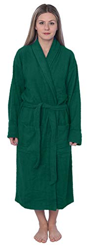 Womens 100% Cotton Shawl Collar Robe Terry Cloth Bathrobe Available in Plus Size BRT1_Y19 Green 4X