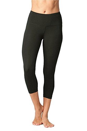 Yogalicious High Waist Ultra Soft Lightweight Capris -  High Rise Yoga Pants - New Olive - Small - New Yoga Pants