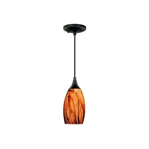 Vaxcel P0177 Milano Mini Pendant Smoky Fire Glass, Oil Rubbed Bronze Finish -