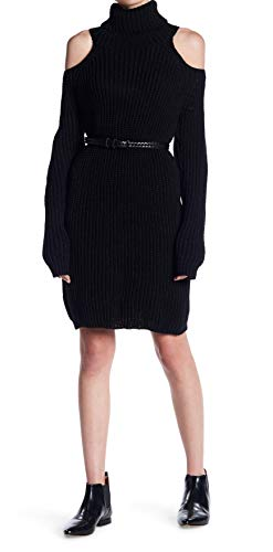 ELAN Women Turtleneck Sweater Dresses | Cute Laides Cold Shoulder Sweater Dresses