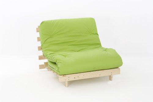 Comfy Living 3ft LUXURY Single (90cm) Wooden Futon Set PREMIUM LUXURY Lime Mattress