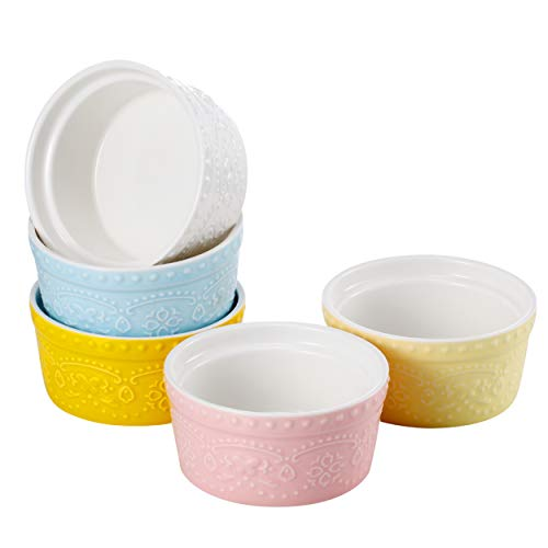 Sumerflos 6 Oz Porcelain Ramekins, Souffle Dishes - for Baking, Pudding, Creme Brulee and Ice Cream - Microwave, Oven Safe - Set of 5, Elegant Assorted - Creme Ounce 6