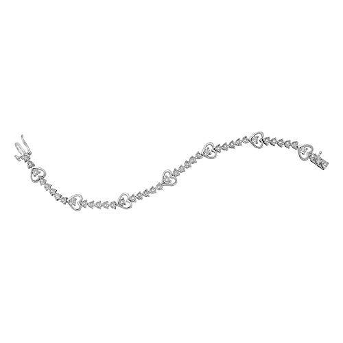 Diamond Heart Tennis Bracelet 1/2ct 925 Sterling Silver