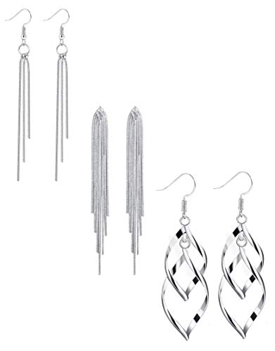 (ORAZIO 3 Pairs Dangle Earrings for Women Girls Double Twist Wave Drop Long Tassel Earrings)