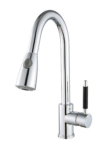 NWMTF 0.5 Deck Mounted Single Handle One Hole Pull Down Kitchen Faucet Solid Brass Chrome Finish Pull Out Sprayer Tap K40CF02