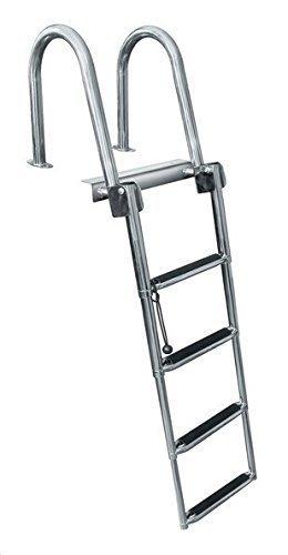 Spareflying 4 Step Pontoon Boat Ladder, Stainless Steel Folding Telescoping Rear Entry Inboard Ladder Heavy Duty Custom Swim Deck Ladder with Pedal Hand Railing Ladder Dock Ladder Extra Wide Step