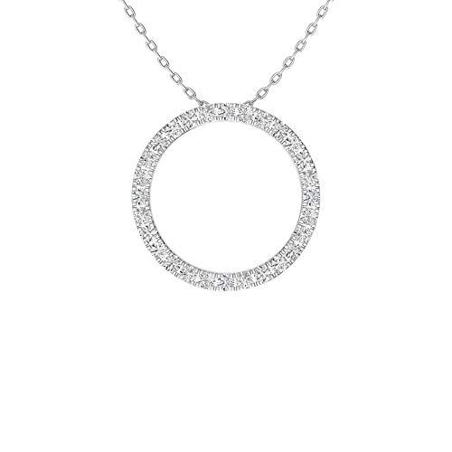 Diamondere Natural and Certified Diamond Circle Necklace in 14k White Gold | 0.21 Carat Pendant with Chain