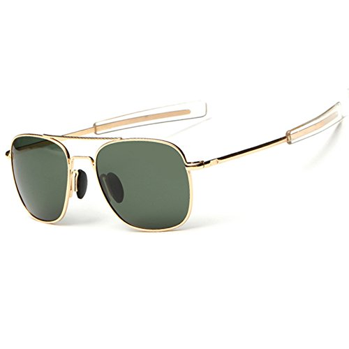 WPF Retro Polarized Sunglasses Aviator Sun Glasses for Men (As Picture, Gold Frame Deep Green ()