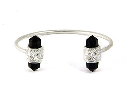 Boho Silver Tone Open Flexible Double Black Resin Cone Cuff Bangle Bracelet by Joon's Collection