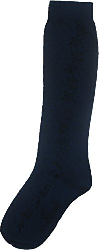 Levante Girl's Cotton Shine Floral Knee High Socks (sock size 10 shoe size 35-38, Navy) ()